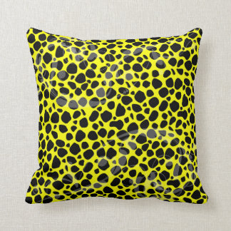 Bright Yellow Leopard Pattern Throw Pillow