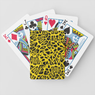 BRIGHT YELLOW LEOPARD WOBBLE PATTERN BACKGROUNDS W BICYCLE PLAYING CARDS
