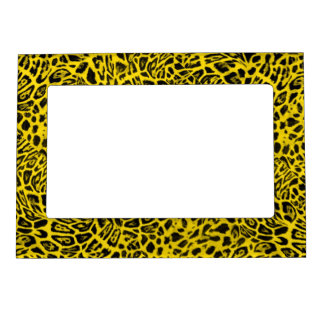 BRIGHT YELLOW LEOPARD WOBBLE PATTERN BACKGROUNDS W MAGNETIC PICTURE FRAME