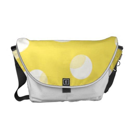 Bright yellow, light yellow, white spotty pattern. messenger bag