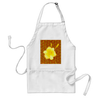 Bright Yellow Lily Overlay on Textured Background Adult Apron