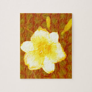 Bright Yellow Lily Overlay on Textured Background Jigsaw Puzzle
