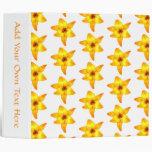 Bright Yellow Lily Pattern. 3 Ring Binder