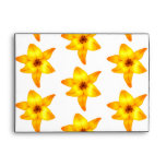 Bright Yellow Lily Pattern. Envelopes