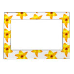 Bright Yellow Lily Pattern. Magnetic Frame