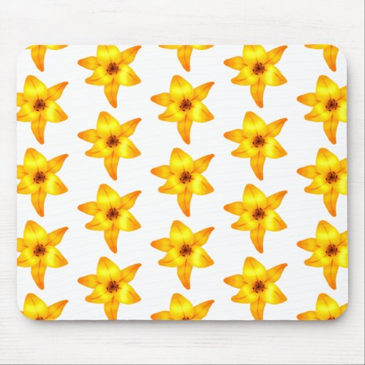 Bright Yellow Lily Pattern. Mousepads