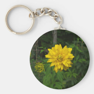 Bright Yellow Marigold  Flower Keychain