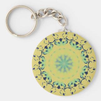 Bright Yellow Mint Green Centering Mandala Pattern Keychain