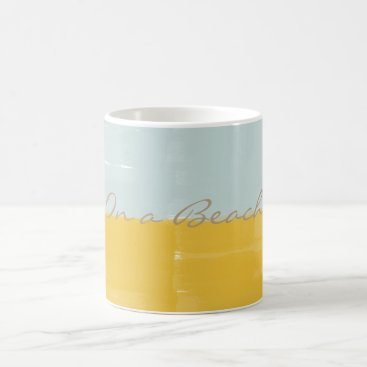 Beach Themed Bright Yellow Mint Watercolor On a Beach Mug