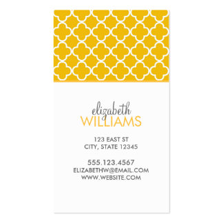 Bright Yellow Moroccan Quatrefoil Pattern Double-Sided Standard Business Cards (Pack Of 100)