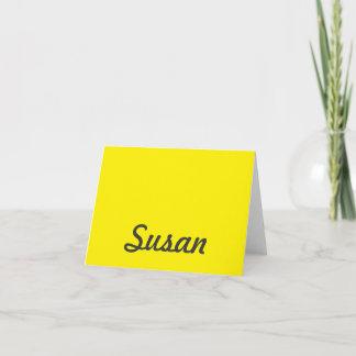 Bright Yellow Neon Trendy Monogram Note Card