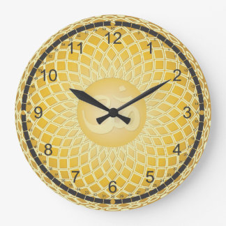 Bright Yellow Om Symbol Clock