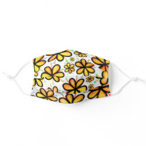 Bright Yellow Orange Colorful Flowers Floral Girly Adult Cloth Face Mask
