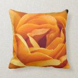 Bright yellow orange rose throw pillows