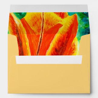 Bright Yellow Orange Tulip Acrylic Floral Painting Envelope