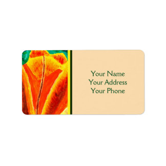 Bright Yellow Orange Tulip Acrylic Floral Painting Label