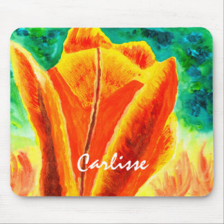 Bright Yellow Orange Tulip Acrylic Floral Painting Mouse Pad