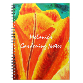 Bright Yellow Orange Tulip Acrylic Floral Painting Notebooks