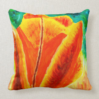 Bright Yellow Orange Tulip Acrylic Floral Painting Pillow