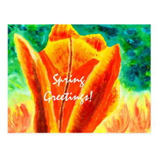 Bright Yellow Orange Tulip Acrylic Floral Painting Postcard