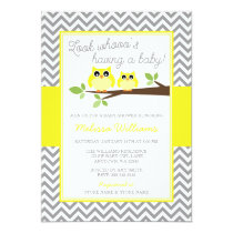 Bright Yellow Owl Gray Chevron Baby Shower Card