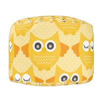 Bright Yellow Owls Pouf