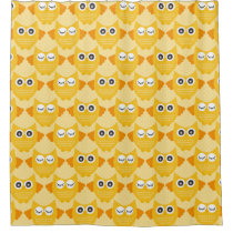 Bright Yellow Owls Shower Curtain