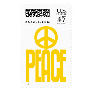Bright Yellow Peace Sign & Text, Postage Stamp