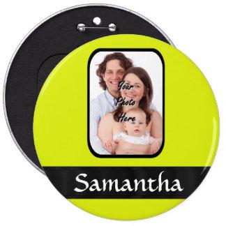 Bright yellow personalized photo pinback button