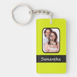 Bright yellow personalized photo Double-Sided rectangular acrylic keychain