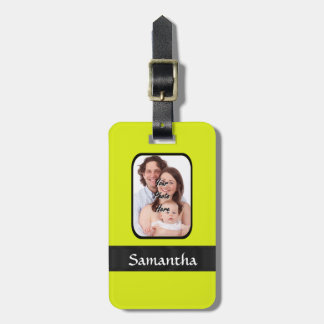 Bright yellow personalized photo luggage tag