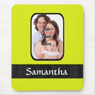 Bright yellow personalized photo mouse pad