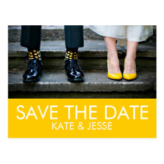 Bright Yellow Photo Save the Date Postcard