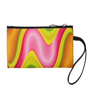 bright yellow pink modern change purse