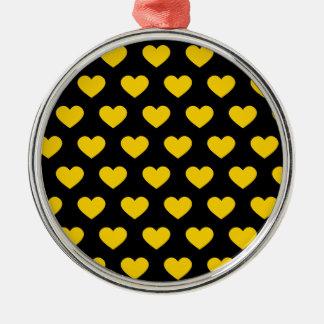 Bright Yellow Polka Dot Hearts (Black Background) Metal Ornament
