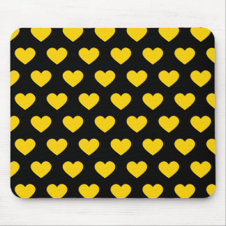 Bright Yellow Polka Dot Hearts (Black Background) Mouse Pad