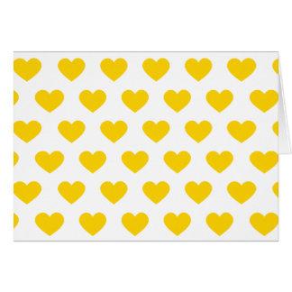 Bright Yellow Polka Dot Hearts Card