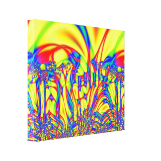 Bright Yellow red blue Fractal Art Canvas Print