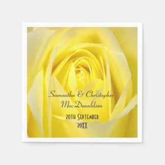 Bright yellow rose flowers country wedding standard cocktail napkin
