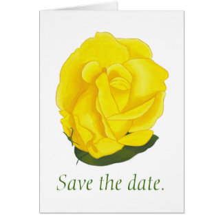 Bright Yellow Rose Save the date Note Cards