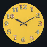 "Bright yellow round clock with big cute numbers 08<br><div class=""desc"">Original - by YANKAdesigns!</div>"