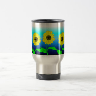 Bright yellow row of sunflowers travel mug