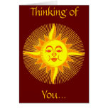 Bright Yellow Smiling Sun Design Greeting Cards