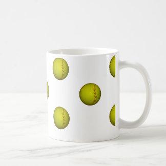 Bright Yellow Softball Pattern Coffee Mug
