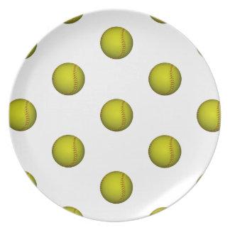 Bright Yellow Softball Pattern Dinner Plate
