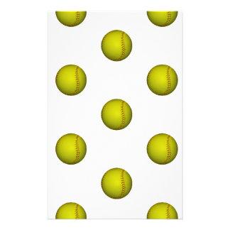 Bright Yellow Softball Pattern Stationery