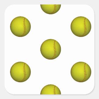 Bright Yellow Softball Pattern Square Sticker
