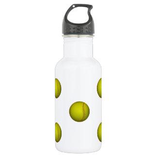Bright Yellow Softball Pattern Water Bottle