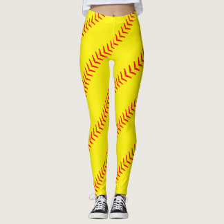 Bright Yellow Softball Stitches (Seams) Leggings