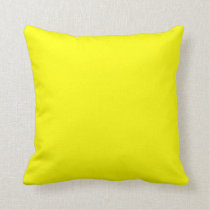 Bright yellow solid plain c Custom Throw Pillow